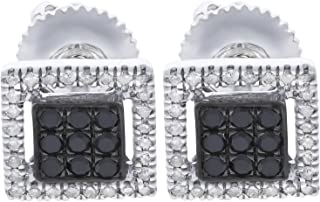 0.30Ct Black & White Diamond Daily Wear Square Screw Back Earrings, White Gold Plated Silver