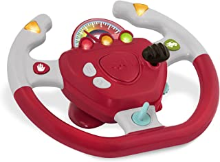 Battat – Geared to Steer Interactive Driving Wheel – Portable Pretend Play Toy Steering Wheel for Kids 2 years +, Red (BT2...