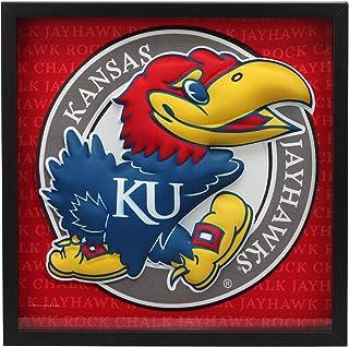 Open Road Brands University of Kansas KU Jayhawk Mascot MDF Wood and Glass Framed Wall Art - an Officially Licensed Produc...