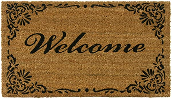 Rubber Cal Classic American Welcome Mat Coir Matting 18 By 30 Inch