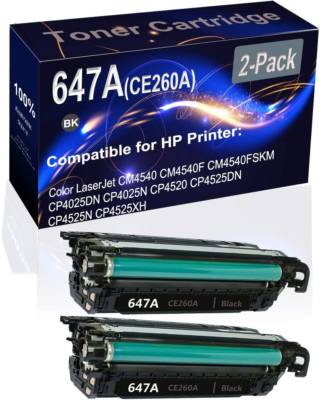 2-Pack (Black) Compatible CP4025 CP4525 Laser Toner Cartridge (High Capacity) Replacement for HP 647A (CE260A) Printer Toner Cartridge