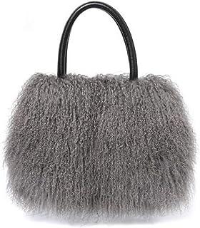 Luxus Echtes Lammfell/Mongolisches Fell Strand Wolle Pelz Tasche Handtasche