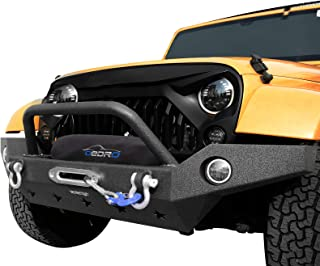 OEDRO Full Width Front Bumper Combo Compatible for 07-18 Jeep Wrangler JK with Winch Plate Mounting & 2 D-ring Star Guardian Design, Upgraded Textured Black Rock Crawler Off Road