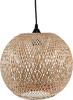 Uonlytech Bambou Lustre Tissés À La Main En Rotin Pendentif Lumière En Osier Abat-Jour Plafond Luminaire Armure Suspendus ...