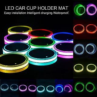 7 Farben L/&U 2ST LED-Auto-Logo-Becherhalter-Auflage f/ür Jeep die USB-Ladematte Lumineszente Cup Pad,Style1