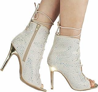 57ff1447eceb6d JJF Shoes Women Glitter Crystal Rhinestone Peep Toe Platform High Heel  Evening Dress Bootie Sandals