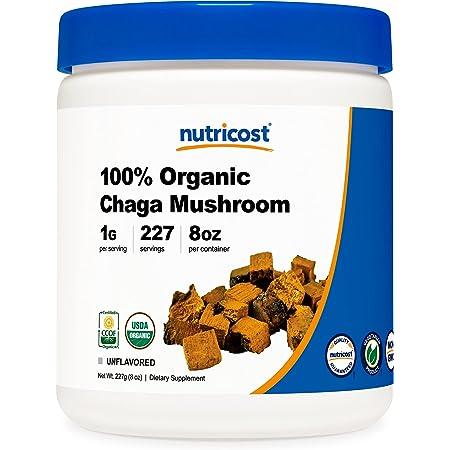 Nutricost 100% Organic Chaga Mushroom Powder 8oz (227 Servings) - Certified USDA Organic, Gluten Free & Non-GMO