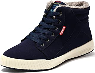 VILOCY Men's Winter High Top Fashion Sneaker Fur Lined Skate Shoes Outdoor Sport Warm Ankle Snow Boots