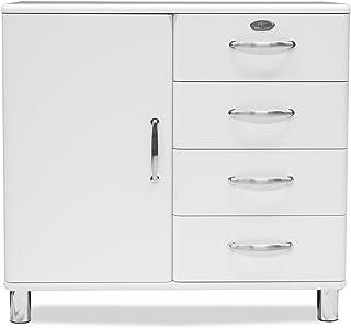TENZO Malibu Petit Buffet avec Porte/4 tiroirs, Panneau/MDF, Blanc, 98 x 41 x 92 cm
