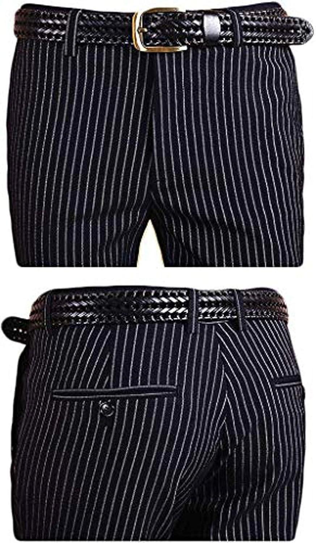 jin xi Men's Flat Front Slim Fit Black with White Stripes Dress Pants