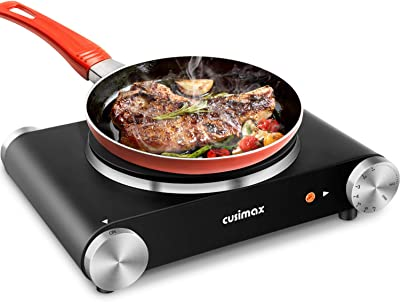 CUSIMAX Electric Burner Hot Plate for Cooking Cast Iron hot plates, Adjustable Temperature Control, Non-Slip Rubber Feet Stainless Steel (Single Stove)