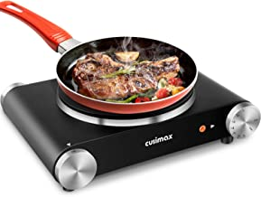 CUSIMAX Portable Hot Plate Burner for Electric Cooking, 1500w Single Countertop Burner with Knob Control to Adjustable Tem...