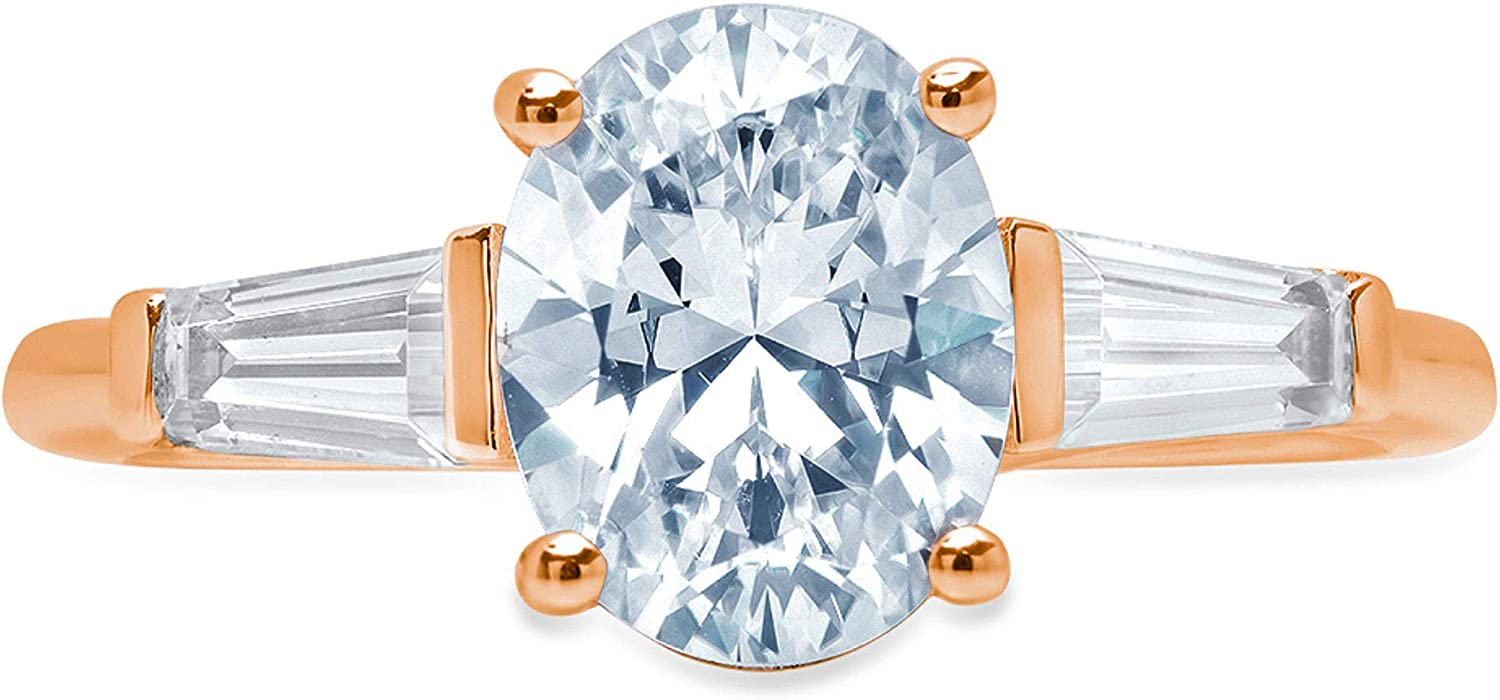 Clara Pucci 2.6 ct Oval Baguette cut 3 stone Solitaire Accent Stunning Genuine Flawless Natural Aquamarine Gem Designer Modern Statement Ring Solid 18K Rose Gold