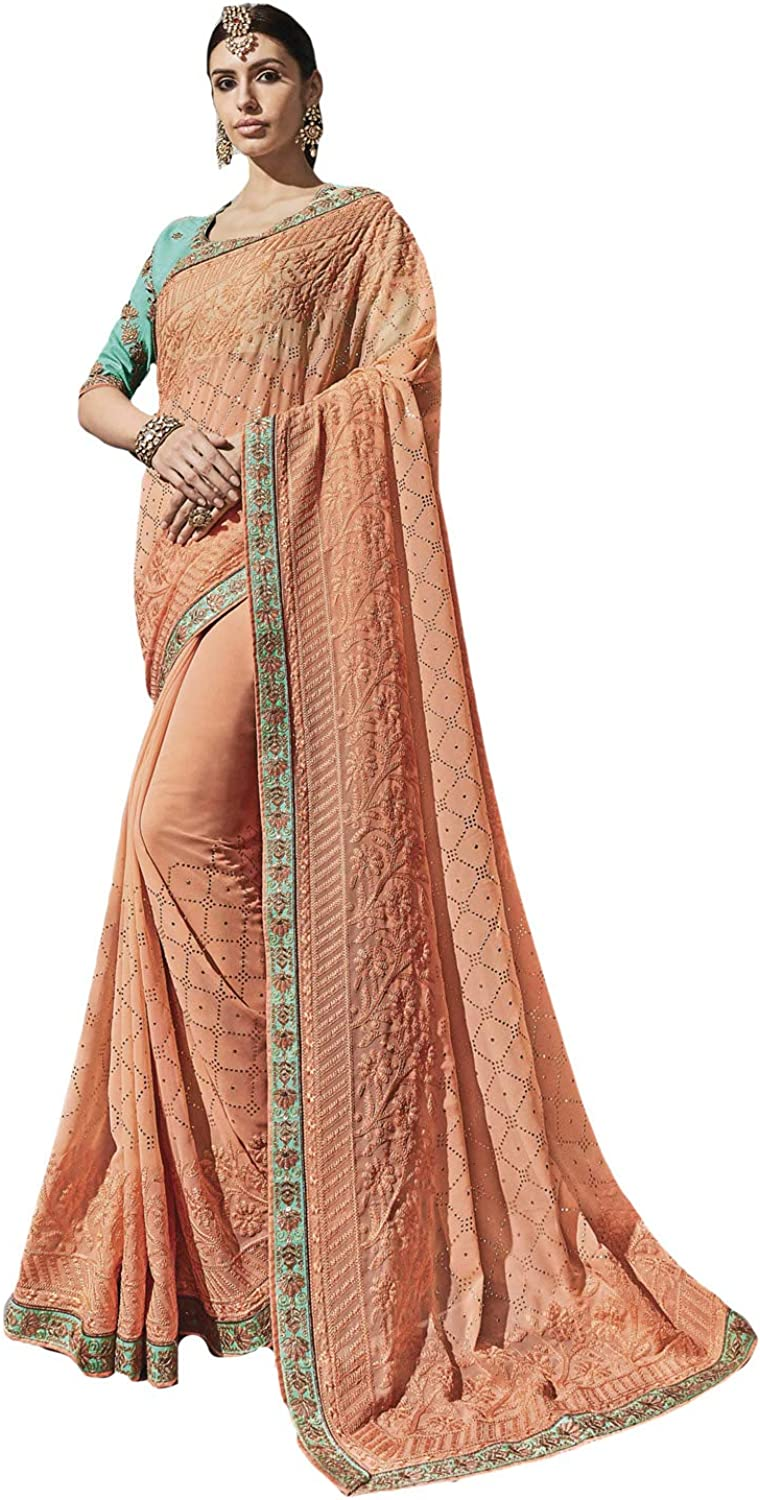 DesiButik's Party Wear Magnificent Peach Silk Saree