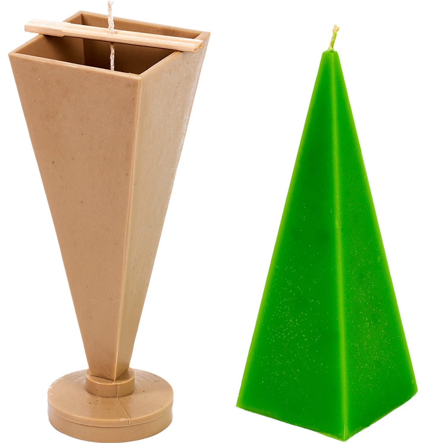 Pyramid Taper Mold - Height: 8.8 in, Width: 2.7 in - 30 ft. of Wick Included as a Gift - Plastic Candle molds for Making Candles