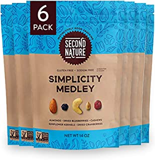 Second Nature Nut Snack Blend in Resealable Standup Pouch, Simplicity Medley Trail Mix, 14 Ounce (Pack of 6)