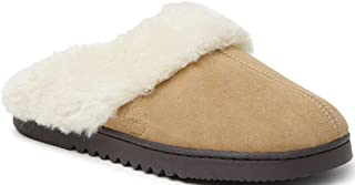 Dearfoams - Pantofola da donna, in vera pelle scamosciata, con punta chiusa, per interni ed esterni