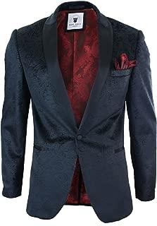 Mens Velvet Paisley Black Fit Blazer Tuxedo Dinner Jacket Smart Casual Black 36