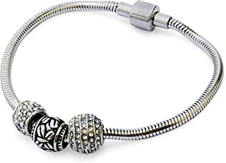 AIWANTO Pandora Style Beads Bracelet   European Style Stainless Steel Snake Chain Charm Bracelet with Snap Clasp for Women...