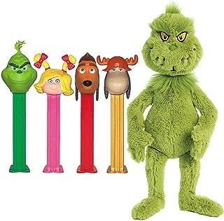(Set) Dr Seuss Grinch Pez Candy Four Dispenser Gift Tin & Stuffed Plush Toy