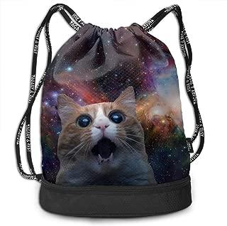 Portable Bundle Backpack, Static Space Cat Standing Art Drawstring Bag For Girls & Boys, Gym Yoga Runner Sports Daypack