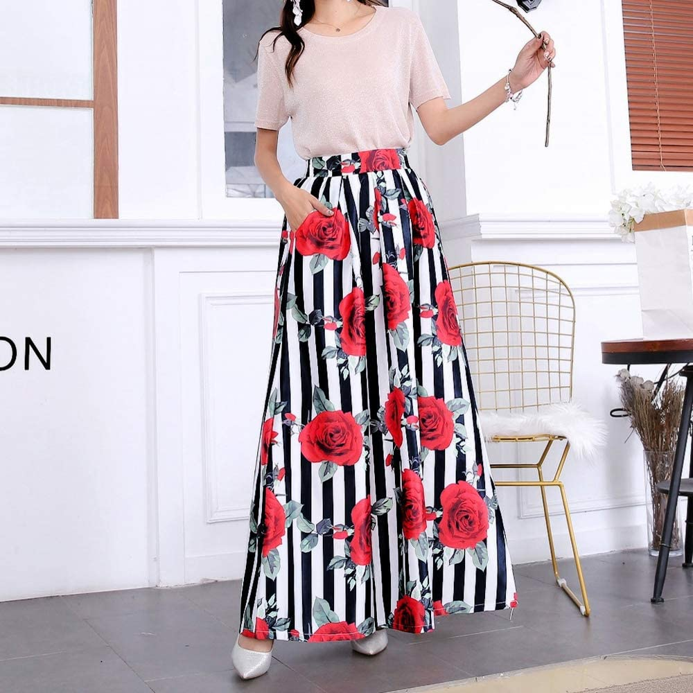 Floral Printed Elastic High Waist Pleated Maxi Skirts for Women Vintage Casual A Line Long Skirt