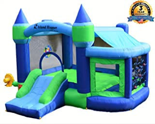 Island Hopper Game Room with Shaded Canopy - Recreational Kids Bounce House with Padded Floor Side Room, Basketball, Target Throw, tic-tac-Toe