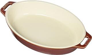 STAUB Ceramics Oval Baking Dish, 9-inch, Rustic Red