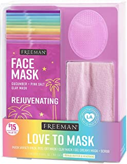 Freeman Facial Love To Mask Variety Pack: Oil Absorbing Clay, Detoxifying Charcoal, Clearing Peel Off, Hydrating Gel Crea...