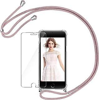 comprar comparacion AROYI Funda con Cuerda para iPhone 7 Plus/8 Plus + Protector Pantalla, Carcasa Transparente TPU Silicona Case con Colgante...