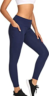 MIKGR Women High Waist Yoga Pants with Pockets Tummy Control Workout Leggings 4 Way Stretch Non See Through