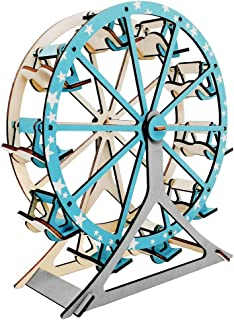 DIY Wooden Creative Model Toy Kits 3D Jigsaw Puzzles Laser-Cut Natural Wood Ferris Wheel Model