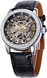 Fashion Casual Sports Women Luxury Automatic Mechanical Skeleton Rhinestone Leather Strap Watches