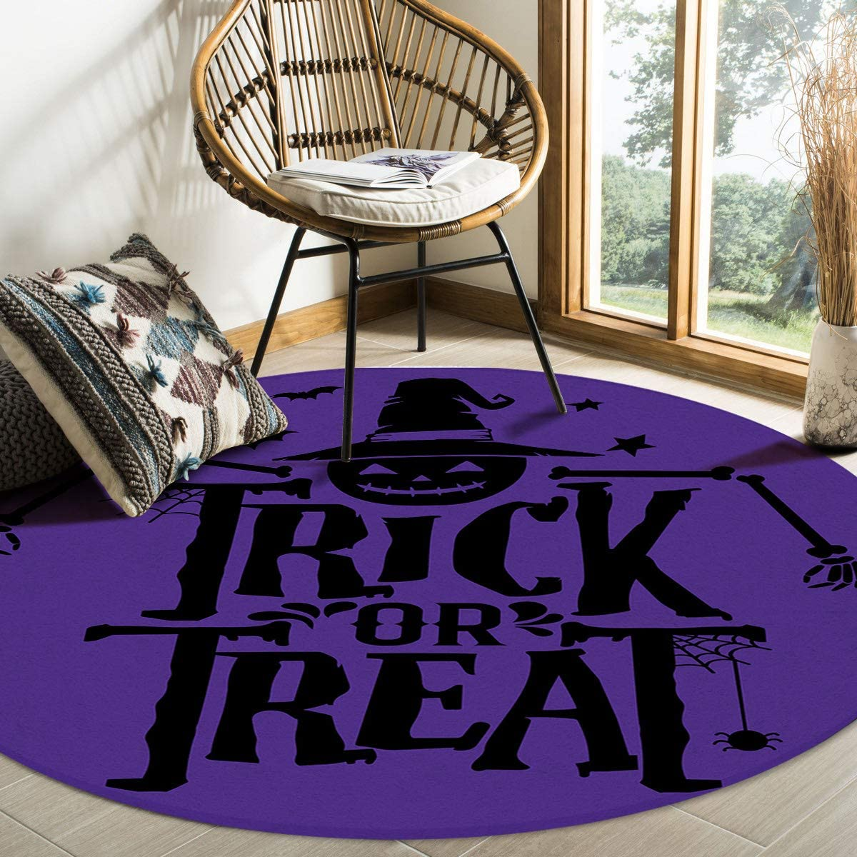 Max 48% OFF HELLOWINK Round Area Rugs 4ft Purple Non-Shed Halloween Pumpkin Indianapolis Mall