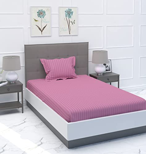 MYSA Home 300 TC Glace Cotton Satin Stripes Plain Bedsheet for Single Bed with One Pillow Cover for Home Hotels Guest House Opera Mauve Single