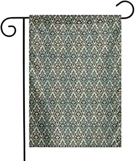 Zzmdear Garden Flag, Suitable for All Seasons and Holidays, Baroque Flower Motifs in Damask Style Traditional Revival Art, Mint Green and Dark Brown, 12