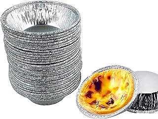 Aluminum Foil Tart Pan, 50 Mini Egg Tart Pans Heat-resistante, Disposable Recyclable Tin Foil Pie Pans for Bakeries, Cafes...