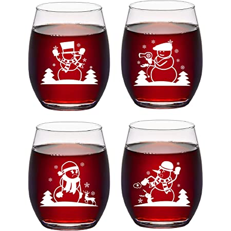 etched glass snowman wine glass christmas gift Snowman set of 4 Stemless Wine Glass etched snowman glass