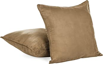 Super Soft Faux Suede Decorative Throw Pillow Cover with Zipper - 18 X 18 - Light Brown (Set of 2)