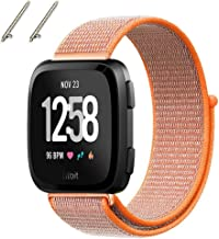 BESTeck Fitbit Versa Bands Soft Nylon Sport Strap Replacement with Connector Wristband for Fitbit Versa Fitness Smart Watch (Spicy Orange)