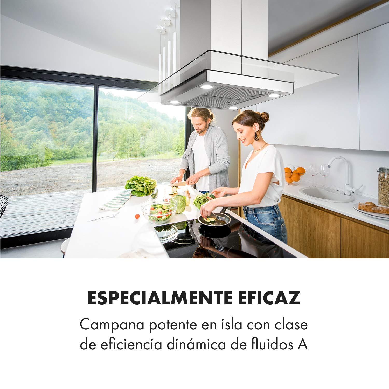 Klarstein Aurelia Campana extractora - Campana isla, Eficiencia energética clase A, 90 cm, capacidad 600 m³/h, 3 niveles, iluminación LED, temporizador, Acero inoxidable y cristal, Plata: Amazon.es: Hogar