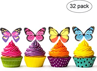 32pcs Butterfly CupCake Cake Topper -Wedding Baby Shower Kids Birthday Party decorations(4 Patterns X 8)