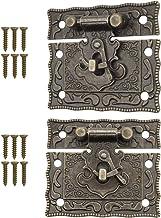 FUXXER® - 2x antieke sluitingen, vergrendelingshaken, slot, brons ijzer design, beslag voor kisten, kratten, 50 x 42 mm in...