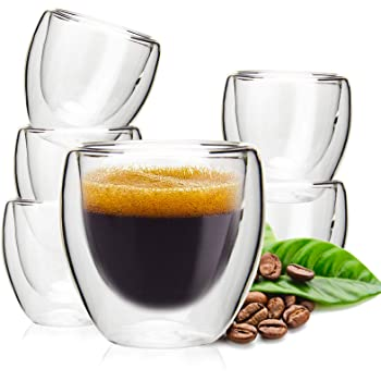 Double Wall Espresso Cups, OAMCEG 6 Pack 2.7 Ounce Thermo Insulated Small Espresso Cups, Latte Cappuccino Milk Juice Coffee Cups Espresso Shot Glasses