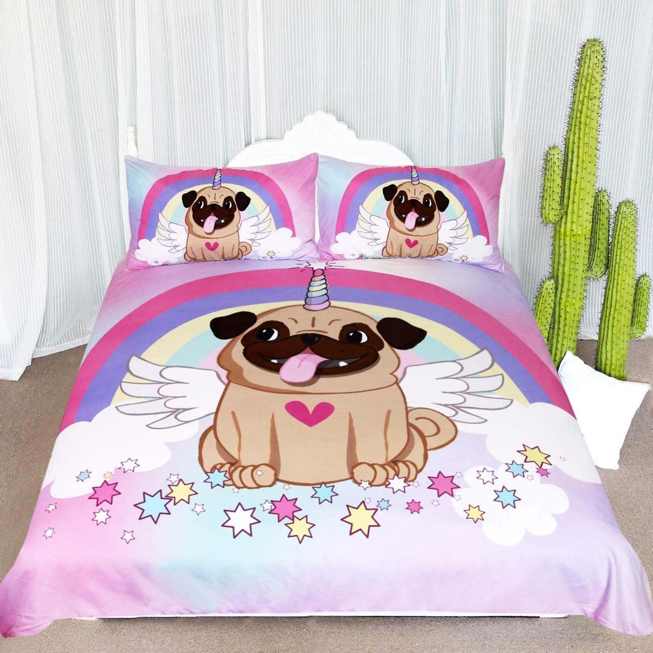 Max 42% OFF ARIGHTEX Unicorn Pug Bedding Twin Pi for Fresno Mall Girls 3