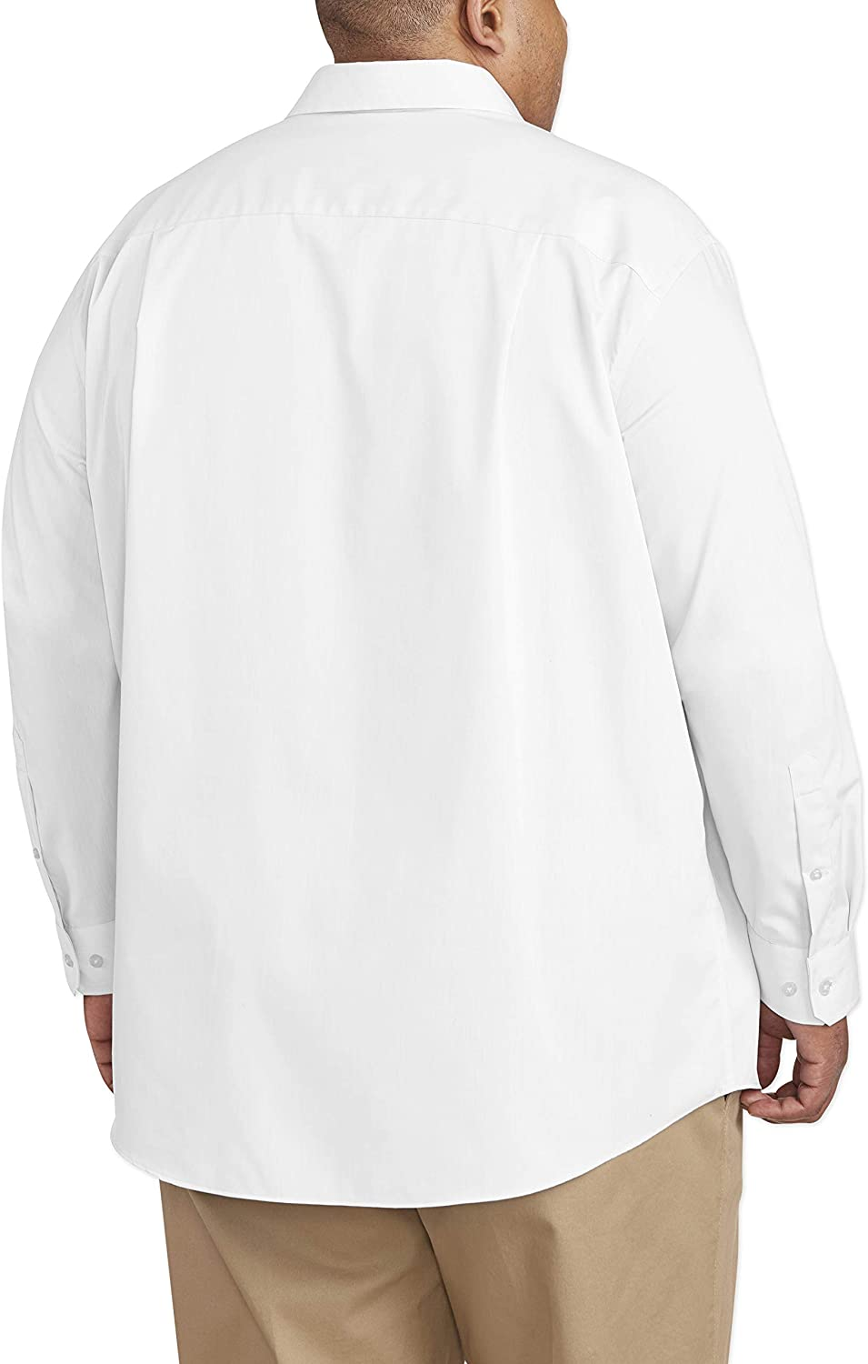 Amazon Essentials Men's Big & Tall Wrinkle-Resistant Long-Sleeve Solid Dress Shirt fit by DXL