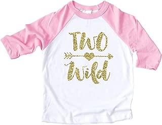 Two Wild Glitter Gold 2nd Birthday Shirt for Girls Pink Raglan Baseball Tee for Second Birthday Girl