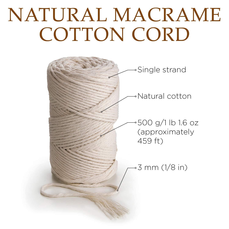 Single Twisted Soft Natural Australian Cotton Macrame Cord 3mm x 1kg approx 480m