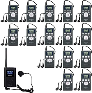 Retekess TR504 Tour Guide System Church Translation System with 15 Pack FM Radios for Teaching Meeting Interpretation Public Speech