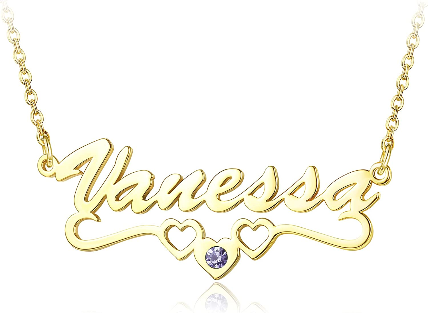 Jewenova free shipping Personalized Name Necklace Custom Plated 18K Gold 67% OFF of fixed price